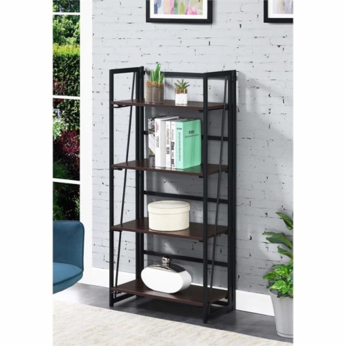 Convenience Concepts Xtra Folding Four-Tier Bookshelf in Espresso Wood Finish Perspective: back