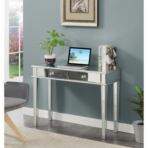 Gold Coast Deluxe Two-Drawer Desk/Console Table in Mirrored Glass Finish Perspective: back