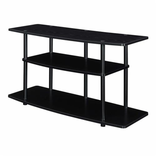 Convenience Concepts Designs2Go Three-Tier Wide TV Stand in Black Wood Finish Perspective: back