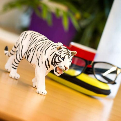 White Siberian Tiger Toy Perspective: back