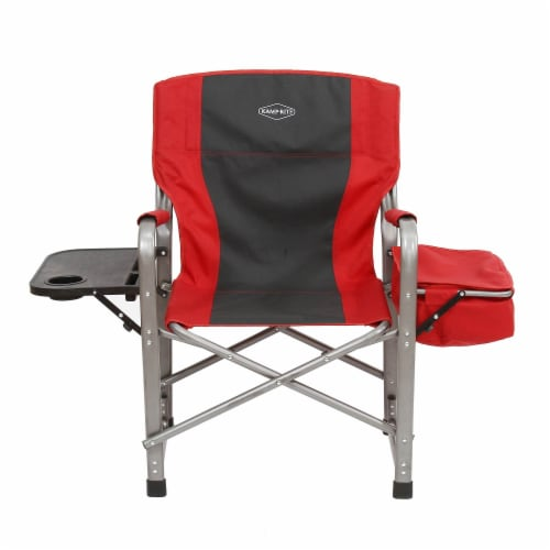 Kamp-Rite Outdoor Camp Folding Director's Chair with Side Table & Cooler, Red Perspective: back