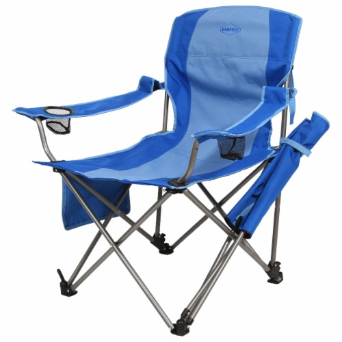 Kamp-Rite Outdoor Camping Beach Patio Folding Chair w/ Detachable Footrest, Blue Perspective: back