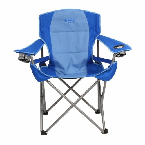 Kamp Rite Padded Folding Camp Chair w/Lumbar Support & Cupholders, Blue Perspective: back