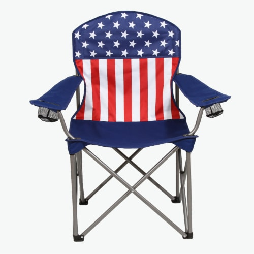 Kamp-Rite Outdoor Camping Beach Patio Sports Folding Quad Lawn Chair, USA Flag Perspective: back