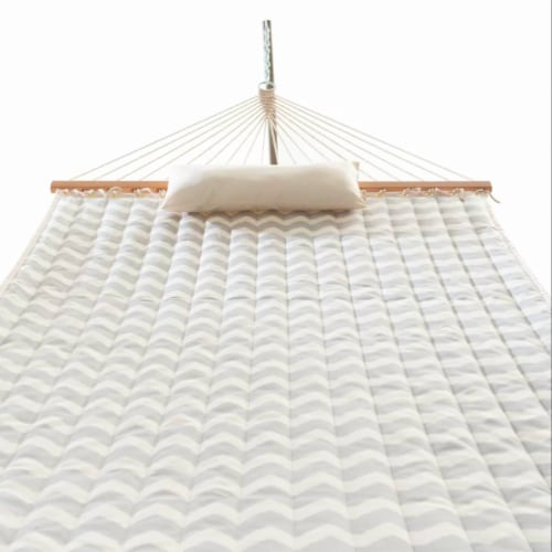 Castaway Hammock Quilted Chevron Print with Pillow Perspective: back