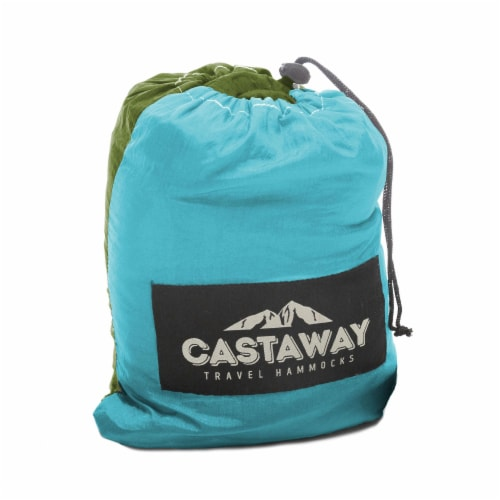 Castaway Hammock Parachute Double Turquoise/Lime Perspective: back