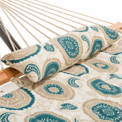 Single 36'' Quilted Fabric Hammock with Hammock Stand and Pillow Combo- Medallion Perspective: back