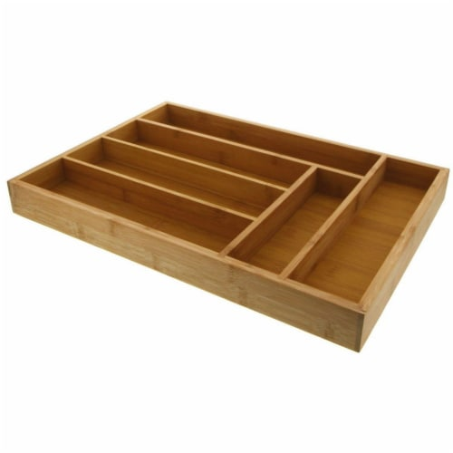 Large Silverware Drawer Organizer, Bamboo-Like Drawer Divider (17 x 12 x 2 In) Perspective: back