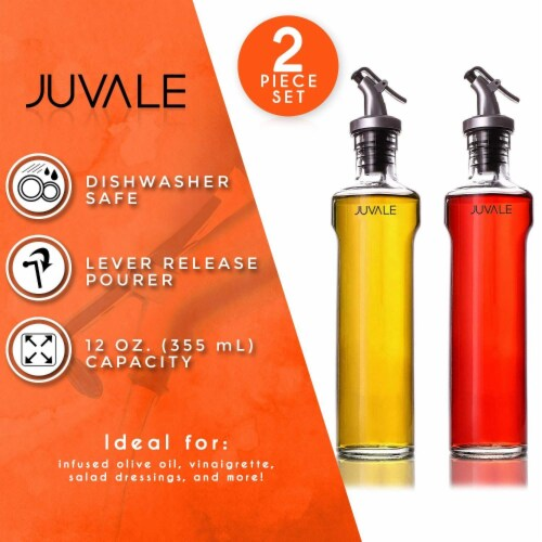 Juvale 2-Piece Oil and Vinegar Glass Dispensers with Lever Release Pourer, 12 Oz / 355mL Perspective: back