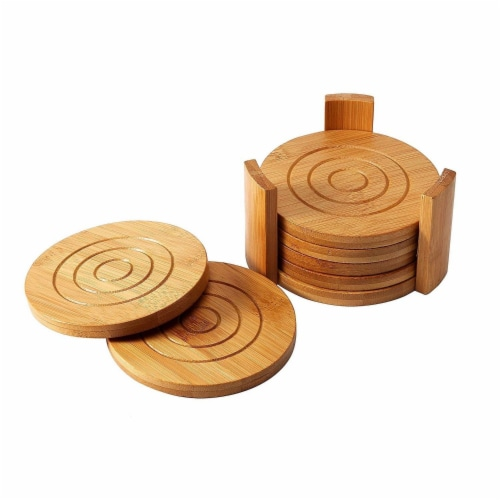 "6-Pack Set Bamboo Wooden Coaster with Holder, Round Cup Coasters, Tan, 4.3"" Perspective: back"