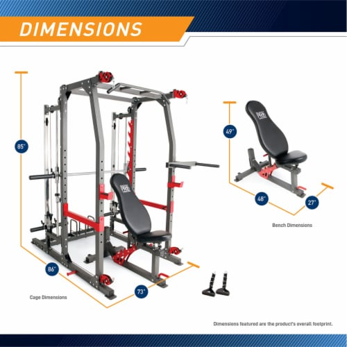 Marcy Pro Smith Machine Weight Bench Home Gym Total Body Workout Training System Perspective: back