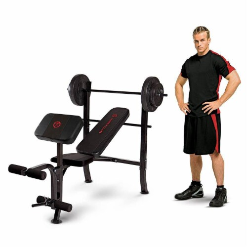Marcy Pro Home Gym Standard Weight Training Bench with 80 Pound Weight Set Perspective: back