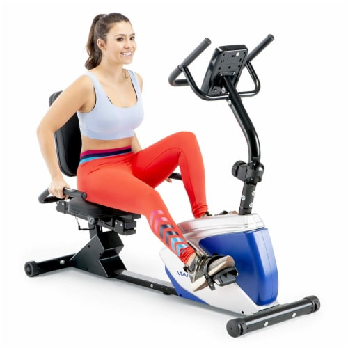 Marcy Sturdy 8 Resistance Magnetic Adjustable Recumbent Home Exercise Bike, Blue Perspective: back