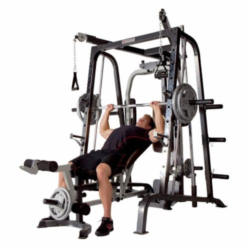 Marcy Deluxe Diamond Elite Smith Cage Home Workout Machine Total Body Gym System Perspective: back