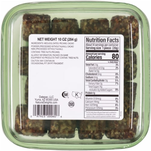 Natural Delights Cacao with Pecans Medjool Date Rolls Perspective: back