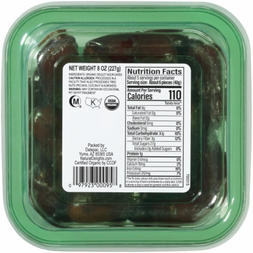 Bard Valley Natural Delights Organic Pitted Deglet Dates Perspective: back