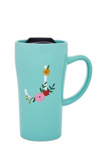 PMI Worldwide Monogram Latte Mug - Blue Perspective: back