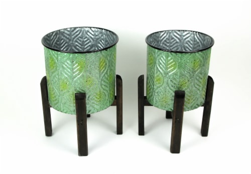 Set of 2 Green Leaf Pattern Stamped Metal Planters With Wooden Stands Perspective: back