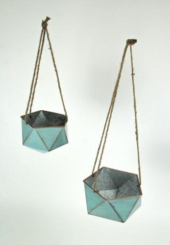 Set of 2 Blue Metal Geometric Hex Hanging Planters Decorative Plant Baskets Perspective: back