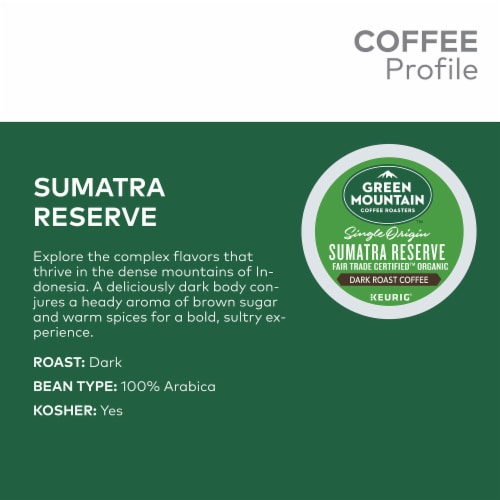 Green Mountain Coffee Sumatra Reserve Dark Roast K-Cup Pods Perspective: back