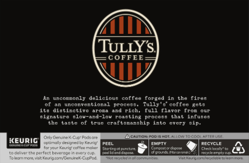 Tully's Coffee French Roast Dark Roast Coffee K-Cup Pods Perspective: back