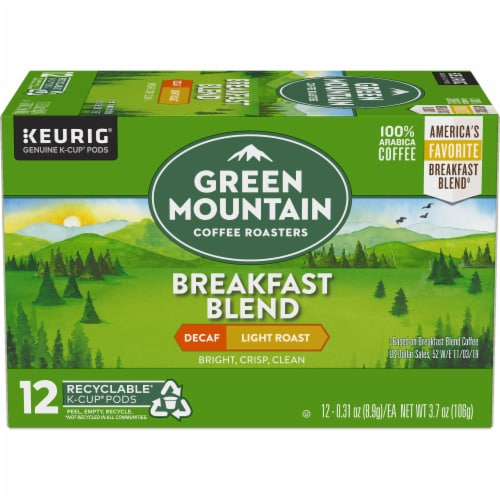 Green Mountain Coffee Decaf Breakfast Blend Light Roast Coffee K-Cup Pods Perspective: back