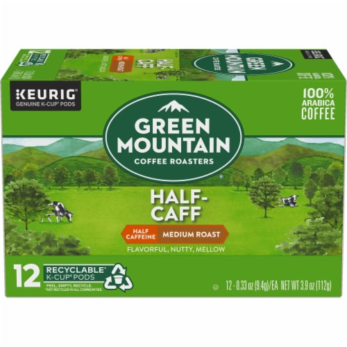 Green Mountain Coffee Roasters Half-Caff Medium Roast Coffee K-Cup Pods Perspective: back