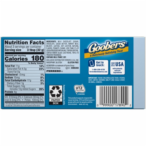 Goobers® Milk Chocolate Covered Fresh Roasted Peanut Candy Perspective: back