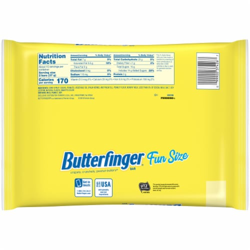 Butterfinger® Fun Size Peanut-Buttery Chocolate-y Halloween Candy Bars Jumbo Bag Perspective: back