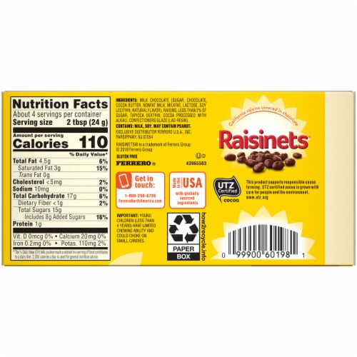 Raisinets Milk Chocolate Covered Raisins Perspective: back
