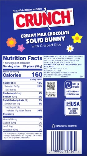Crunch Creamy Milk Chocolate & Crisped Rice Easter Bunny Perspective: back