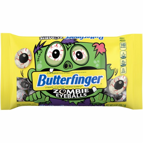 Butterfinger® Zombie Eyeballs Peanut-Buttery Chocolate-y Halloween Candy Perspective: back