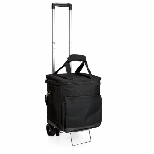 Cellar 6-Bottle Wine Carrier & Cooler Tote with Trolley, Black with Gray Accents Perspective: back