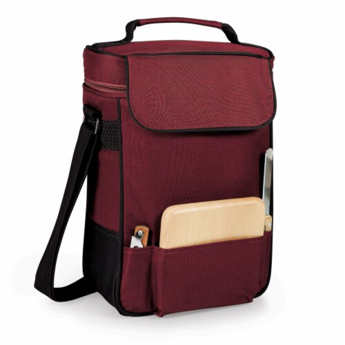 Duet Wine & Cheese Tote, Burgundy Perspective: back