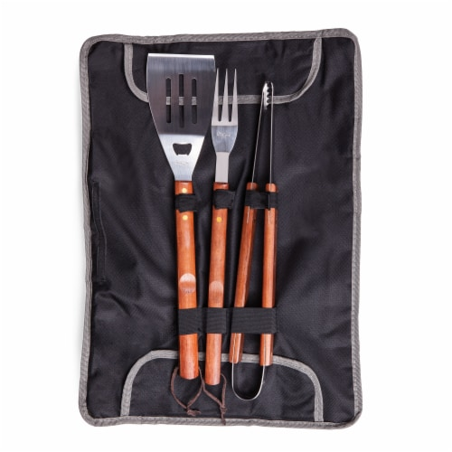 3-Piece BBQ Tote & Grill Set, Black with Gray Accents Perspective: back