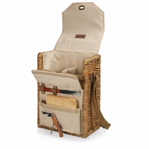 Corsica Wine & Cheese Picnic Basket, Beige Canvas Perspective: back