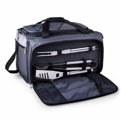 Buccaneer Portable Charcoal Grill & Cooler Tote, Black with Gray Accents Perspective: back