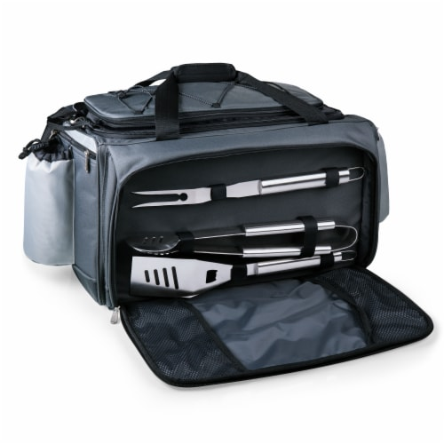 Vulcan Portable Propane Grill & Cooler Tote, Black with Gray Accents Perspective: back