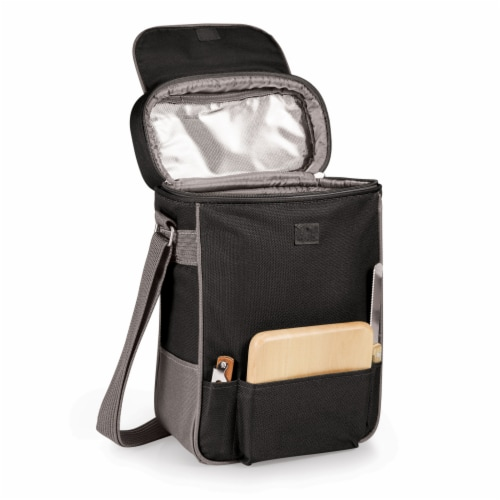 Duet Wine & Cheese Tote, Black with Gray Accents Perspective: back