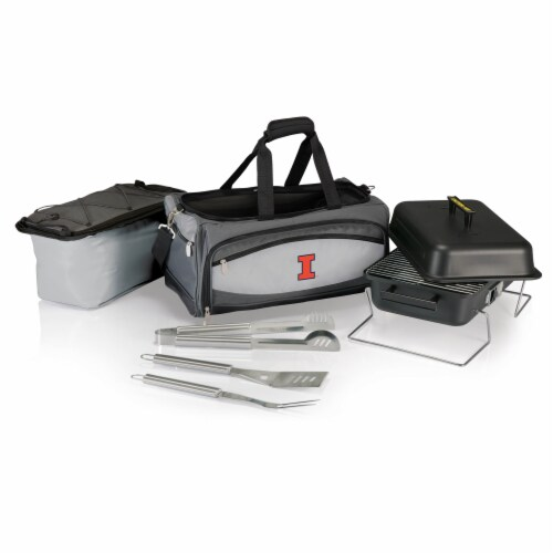 Illinois Fighting Illini - Portable Charcoal Grill & Cooler Tote Perspective: back