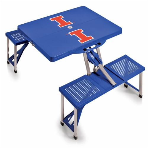 Illinois Fighting Illini - Picnic Table Portable Folding Table with Seats Perspective: back