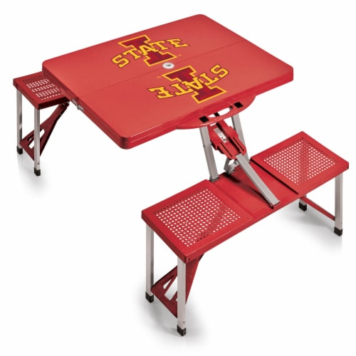 Iowa State Cyclones - Picnic Table Portable Folding Table with Seats Perspective: back