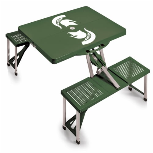 Michigan State Spartans - Picnic Table Portable Folding Table with Seats Perspective: back