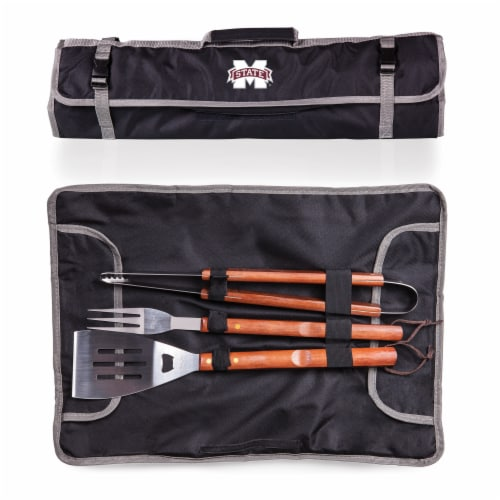 Mississippi State Bulldogs - 3-Piece BBQ Tote & Grill Set Perspective: back