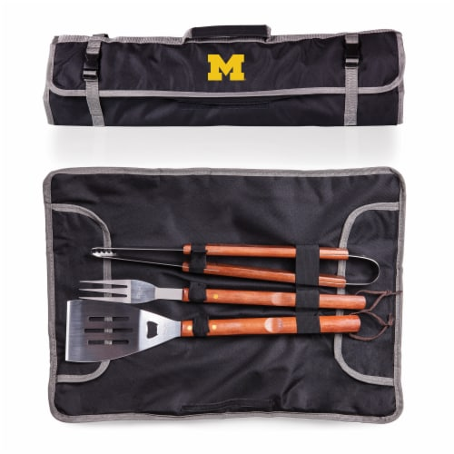 Michigan Wolverines - 3-Piece BBQ Tote & Grill Set Perspective: back