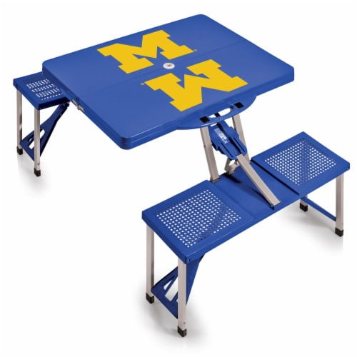 Michigan Wolverines - Picnic Table Portable Folding Table with Seats Perspective: back