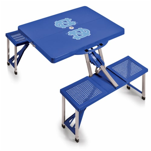 North Carolina Tar Heels - Picnic Table Portable Folding Table with Seats Perspective: back