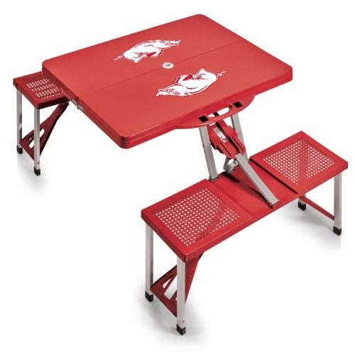 Arkansas Razorbacks - Picnic Table Portable Folding Table with Seats Perspective: back