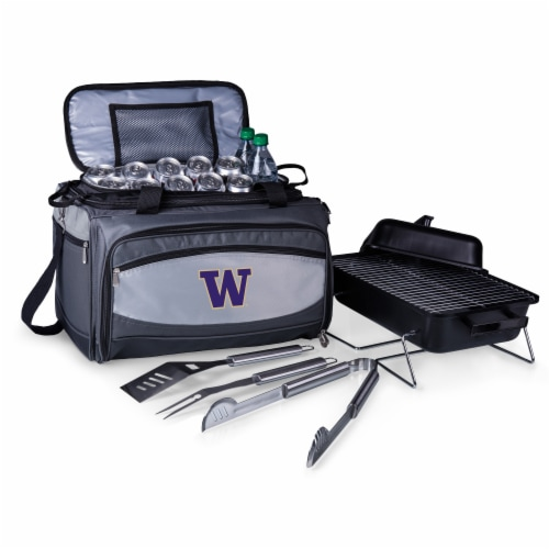 Washington Huskies - Portable Charcoal Grill & Cooler Tote Perspective: back