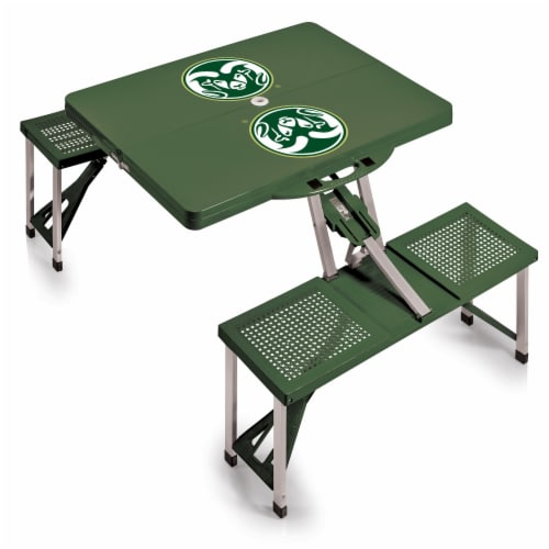 Colorado State Rams - Picnic Table Portable Folding Table with Seats Perspective: back